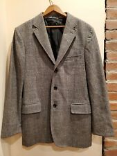 J Crew Mens Blazer Sport Coat Plaid Houndstooth Grey Navy Wool Like Jacket 40R