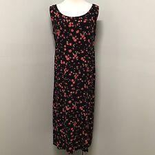 R&K 14 W Rose Floral Print 90's Boho Grunge Sleeveless Midi Womens Dress 14W