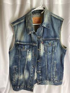 Levi's Vintage Faded Blue Denim Vest Men's Size XL
