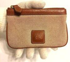 Vintage Dooney & Bourke Fabric Leather Trim Wallet Ivory Tan Zipper Pouch EUC