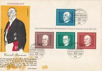 German 1968 Bonn Cancel Celeb. Konrad Adenauer Chancellor Stamps cover ref 22890