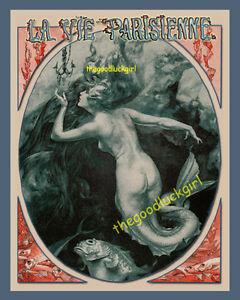 1919 TO CATCH A MERMAID siren La Vie Parisienne 8x10 Herouard Art print