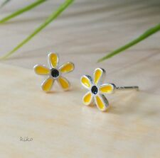 Yellow Daisy Earrings, 925 Sterling Silver Enamel Earrings, Daisy Flower Earring