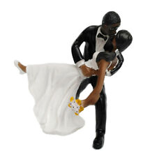 Wedding Party Resin Tango Groom Bride Black Couple Figurine Cake Topper