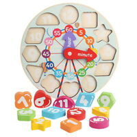 Children Kids Wooden Wood Learning Clock Shape Puzzle Early Educational Toy UK