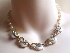 Vintage 1950's white Lucite Rhinestone gold tone faux pearl link choker necklace