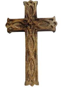 Large Mango Wood Wall Hanging Cross Hand Crafted Rustic Design Decorative Religi