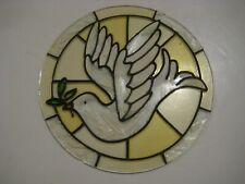 "Rare Antique 7"" Unframed Circular Stained Glass Window Suncatcher Dove of Peace"