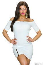 Sexy Carmen Kleid  Minikleid Kleid Cocktailkleid  Reißverschluss Weiß  34 36 38