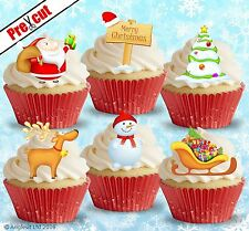 PRE-CUT CHRISTMAS MIX VIII. EDIBLE WAFER PAPER CUP CAKE TOPPER DECORATIONS