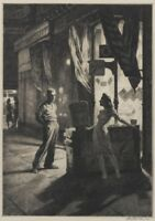 Chance Meeting : Martin Lewis : Drypoint etching : Archival Quality Art Print