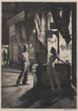 Chance Meeting : Martin Lewis : circa 1930 : Drypoint etching : Fine Art Print