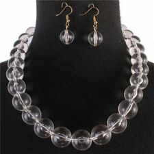 Clear Lucite Bead Necklace Earring set