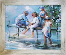 Kinder Angel Wasser 20er Echte Handarbeit Rahmen Öl Gemälde Bild Bilder G15613