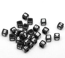 PD: 300 Schwarz Acryl Zahlen & Symbol Würfel Perlen Beads 7x7mm