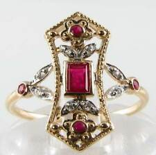UNUSUAL LONG 9CT GOLD ART DECO INS RUBY & DIAMOND RING FREE RESIZE