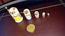 Russian tiny hand-painted OWL MINI nesting doll, 5 dolls set
