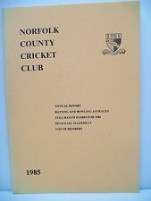 Booklet. Norfolk County Cricket Club 1985. Annual Report, Batting & Bowing Avera