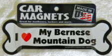 Dog Magnetic Car Decal - Bone Shaped - I Love Bernese Mountain Dog - Made in Usa