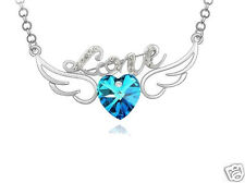 Crystal Angel Wings Fly Heart Love Blue Diamond Pendant Necklace Gift for Her UK