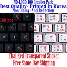 Thai Keyboard Sticker Red letters Transparent Reseller 100 Pack DEAL!!
