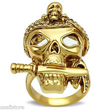 Smoked Quartz Crystal Stones Skull Gold EP Mens Ring