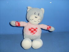 MAI3 / DOUDOU PELUCHE AJENA CHAT GRIS ROSE COEUR COMME NEUF