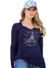 NEW Cruel Girl Western Shirt Womens L/S Tee Ruching Modal Navy M