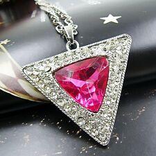 Set XXL Lang Kette + Dreiecke Anhänger Damen  Halskette Strass Silber Pink 148