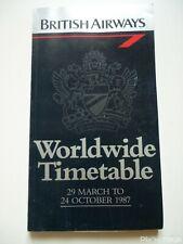 Timetable Horaire de poche British Airways 1987