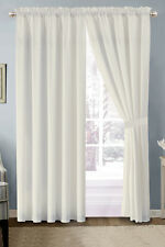 4-Pc Heart Diamond Spade Clover Floral Embroidery Curtain Set Off-White Sheer