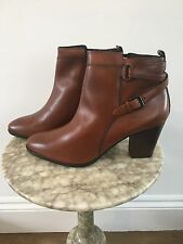 New Jones Napier Womens Tan Leather Block Heel Ankle Boots Uk 9 Eu 42