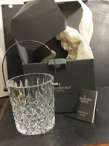 NIB Waterford Crystal Lismore Ice Bucket  Silverplated Handle All Tags