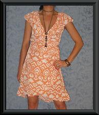 Knee Length Cotton Blend Wrap Dresses