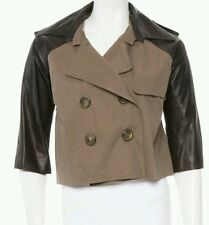 mason by michelle mason Leather cropped military trench coat 2 NWT