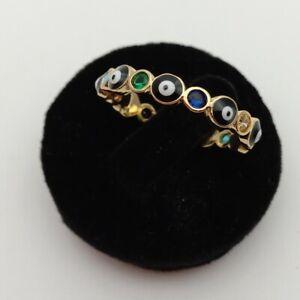 Gold color rainbow cz  Enamel Turkish evil eye jewelry ring women finger rings
