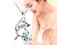 Women's New Fashion Rhinestone Dolphin Pendant Titanium Necklace Jewellery
