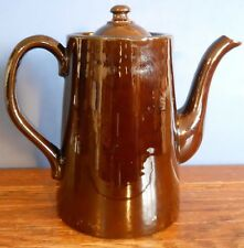 """A vintage Traditional English Brown 8"""" Coffee pot by Alcock, Lindley, and Bloore"""