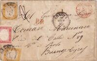 Sardegna 80+80+40 cent da Genova x Buonos Aires 1862, Cv 13.500 €