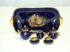 Vtg 10 Pc Limoges France Cobalt Blue & Gold Miniature Dollhouse Tea Set w/ Tray