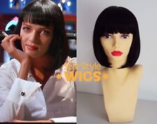 DELUXE SHORT BLACK BOB WIG STRAIGHT BLUNT WITH BANGS MIA WALLACE, UMA THURMAN
