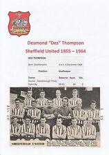 DES THOMPSON SHEFFIELD UNITED 1955-1964 ORIGINAL HAND SIGNED MAGAZINE PICTURE