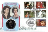 GB QEII PNC COIN COVER 1992 40TH ANNIVERSARY ACCESSION £2 ALDERNEY COIN RED