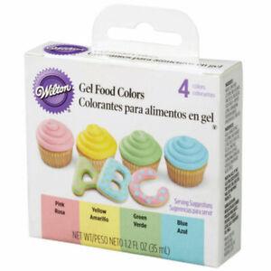 Wilton Pastel Gel Food Colors 4 PCS Set - Pink Yellow Green Blue 0.3 oz each