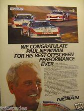 "1985 Paul Newman Nissan Ad 8.5 x 10.5""Nissan Racing-Original Print Ad"