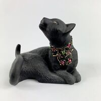 Lenox Jeweled Black Gold Cat Sunshine Daydreams Lazy Kitty Cat FigurineVintage