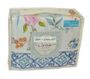 DENA HOME Sky Floral Ikat Border FULL/ QUEEN DUVET COVER REVERSIBLE Blue Multi