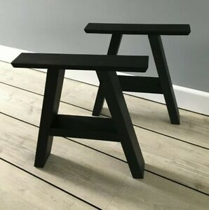 Pair A-Frame Industrial Black Table Legs Wood. Coffee, Dining, Home, Bench