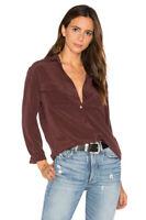 $230 Equipment Slim Signature Silk Shirt Rust