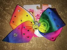 NWT JoJo Siwa Smile Emoji Rainbow Ombré 🌈🎀💎Hair Bow Rhinestone Dance Cheer